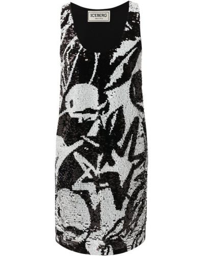 Платье с пайетками черно-белое Iceberg