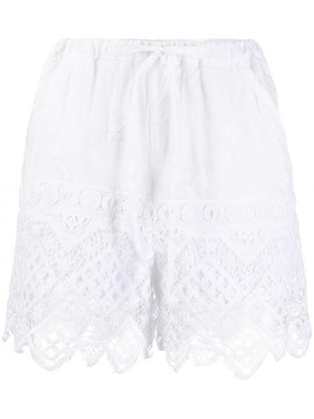 Однобортные белые ажурные шорты на шнурках Temptation Positano