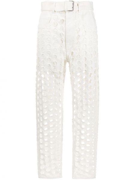 Хлопковые белые пляжные джинсы с высокой посадкой с карманами Maison Margiela