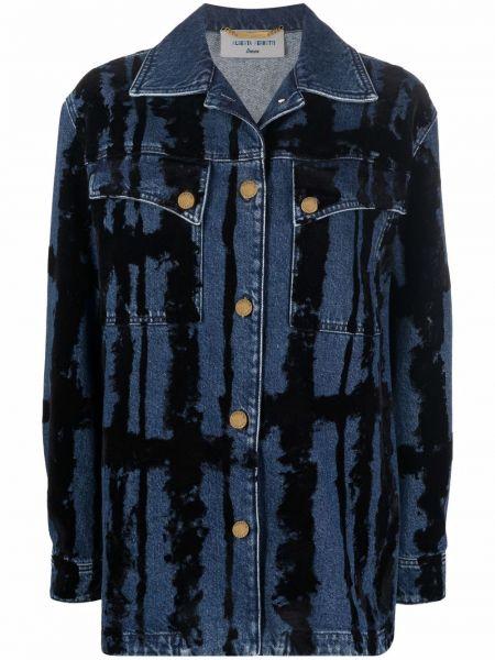 Синяя куртка с принтом Alberta Ferretti
