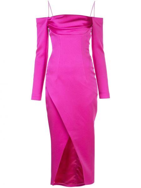 Платье миди розовое с открытыми плечами Rasario