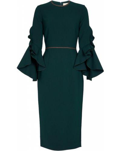 Платье миди с длинными рукавами - синее Roksanda