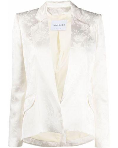 Белый удлиненный пиджак на пуговицах с лацканами Hebe Studio