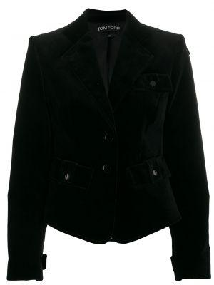 Бархатный черный пиджак с карманами Tom Ford