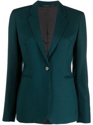 Зеленый однобортный удлиненный пиджак с карманами Paul Smith