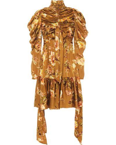 Brązowa satynowa sukienka mini asymetryczna Zimmermann