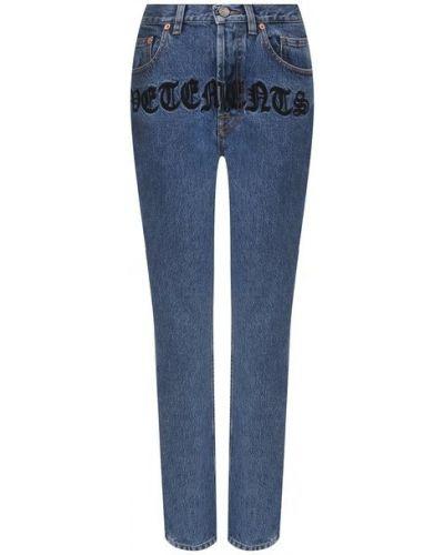 Хлопковые синие джинсы с вышивкой Vetements