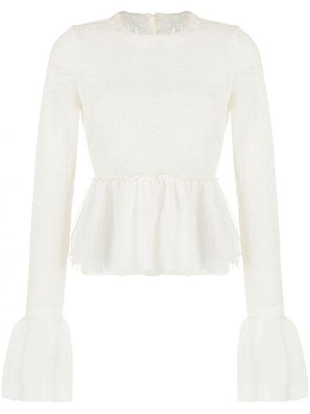 Нейлоновая блузка с длинным рукавом с оборками с вырезом на пуговицах Renli Su