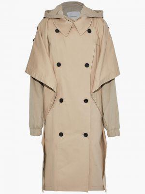 Beżowy płaszcz dwurzędowy bawełniany Pushbutton