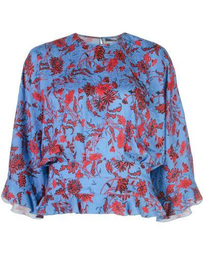 Блузка с коротким рукавом с рюшами с рукавом-колоколом Derek Lam