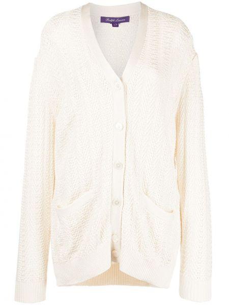 Biały sweter z dekoltem w serek Ralph Lauren Collection