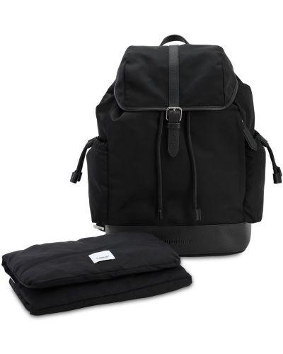 Czarny plecak skórzany w paski Burberry
