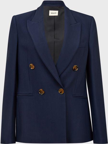 Шелковый синий пиджак на пуговицах Khaite