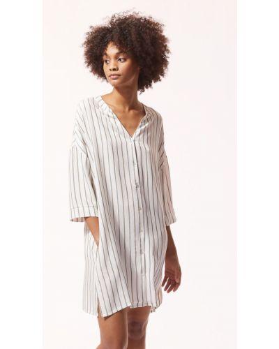 Piżama z koszulą krótki rękaw z wiskozy zapinane na guziki Etam