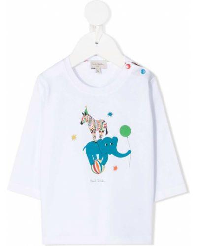 Хлопковая белая рубашка с длинными рукавами круглая Paul Smith Junior
