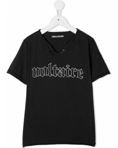 Хлопковая черная футболка с вышивкой с круглым вырезом Zadig & Voltaire Kids