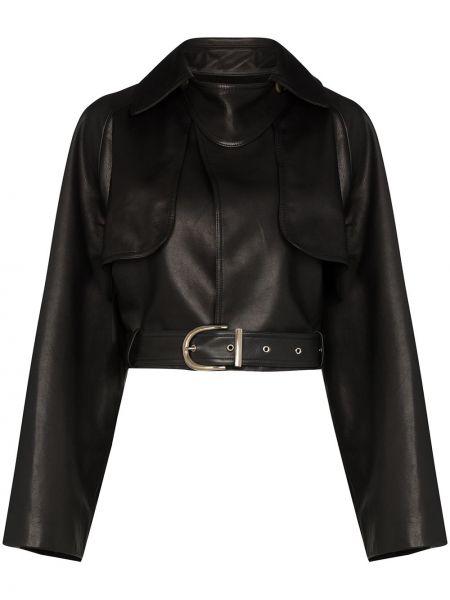 Кожаная куртка черная укороченная Khaite