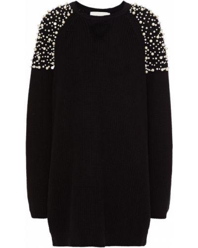 Хлопковое черное платье мини с жемчугом Michelle Mason