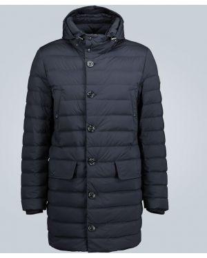 Пуховая теплая синяя куртка с капюшоном Moncler
