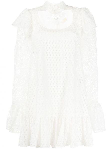 Ажурное белое платье мини трапеция Sara Battaglia