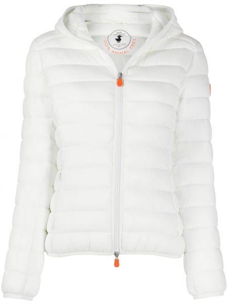 Белая классическая нейлоновая куртка с капюшоном с карманами Save The Duck