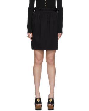 Czarny spódnica mini z wiskozy z kieszeniami z falbankami Versace