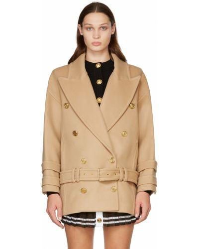Пальто с воротником золотое Balmain