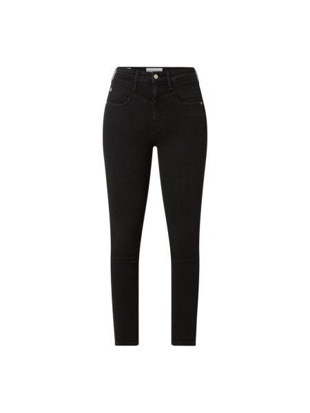 Bawełna bawełna czarny jeansy na wysokości chudy Calvin Klein Jeans