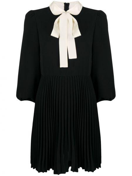 С рукавами черное платье мини с воротником Red Valentino