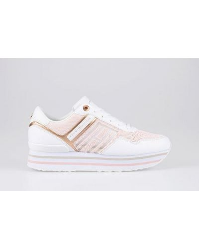 Różowe sneakersy na platformie sznurowane Tommy Hilfiger
