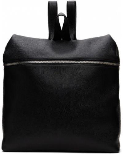 Кожаный черный рюкзак для ноутбука на бретелях с карманами Kara