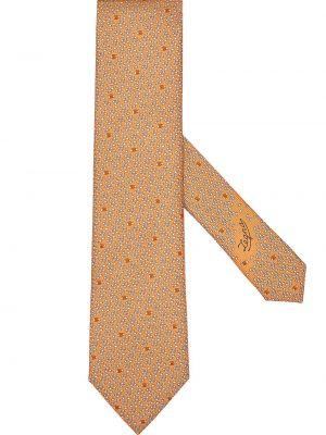 Оранжевая шелковая резинка для волос Ermenegildo Zegna