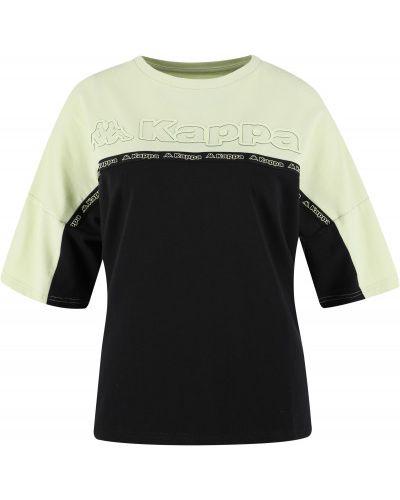 Хлопковая черная футболка свободного кроя Kappa