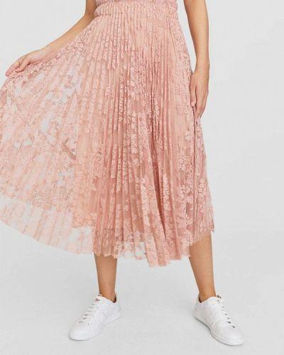 Плиссированная юбка розовая Stradivarius