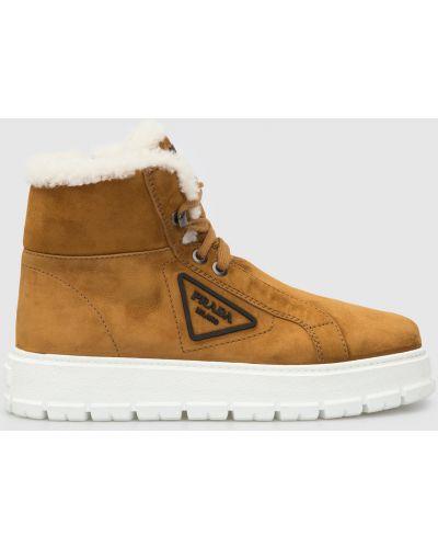 Замшевые ботинки - бежевые Prada