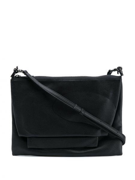Кожаная черная сумка на плечо с вышивкой на молнии Discord Yohji Yamamoto