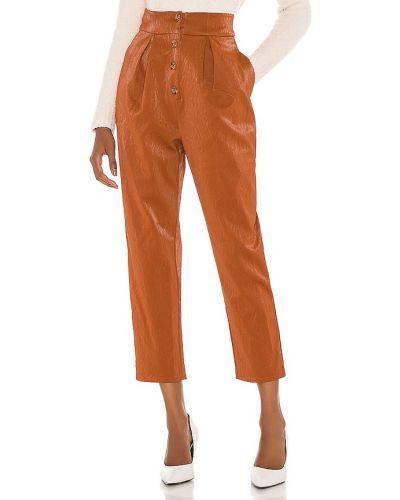 Brązowy włókienniczy spodnie palazzo z kieszeniami w połowie kolana Majorelle