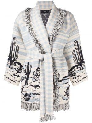 Синее кашемировое длинное пальто с лацканами Alanui