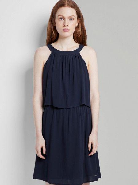 Прямое синее джинсовое платье Tom Tailor Denim