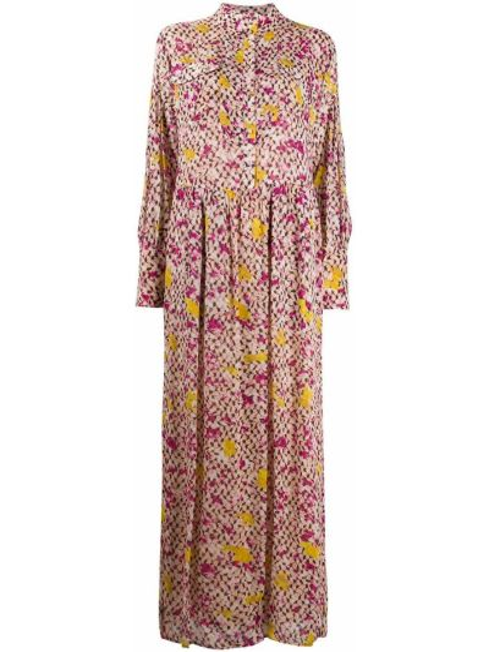 С рукавами розовое платье макси в цветочный принт Lala Berlin