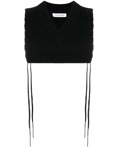 Czarny wełniany śliniak z dekoltem w szpic Craig Green