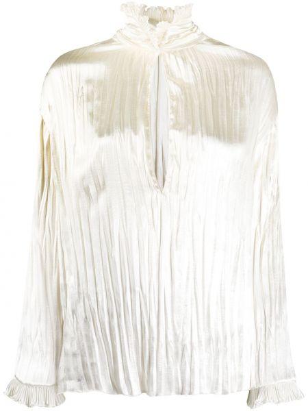 Прямая блузка с длинным рукавом с оборками с воротником с вырезом Philosophy Di Lorenzo Serafini