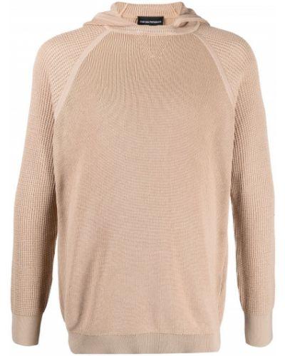 Prążkowany pulower bawełniany z kapturem Emporio Armani
