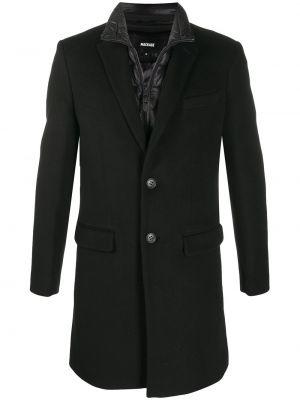 Пуховое черное длинное пальто с воротником Mackage