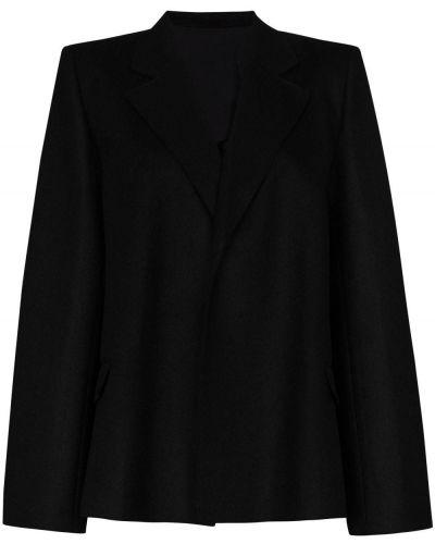 Шерстяной однобортный черный удлиненный пиджак Toteme