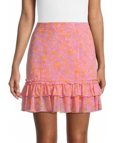 Розовая юбка мини в цветочный принт с подкладкой Likely