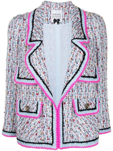 Классический пиджак твидовый на пуговицах с лацканами Edward Achour Paris