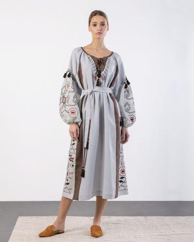 Этническое платье - серое Etnodim