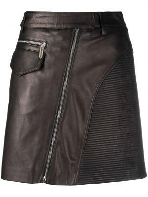 Черная с завышенной талией кожаная юбка мини Just Cavalli