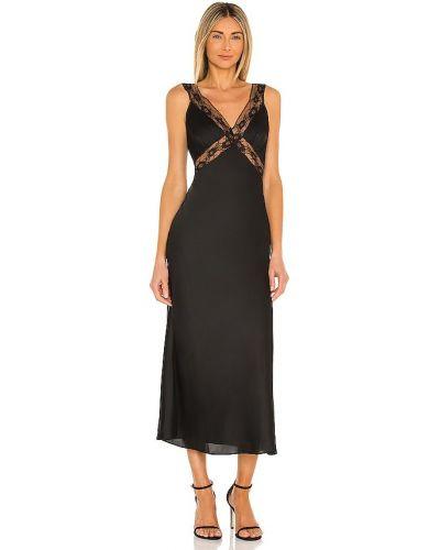 Кружевное черное платье миди на молнии Majorelle